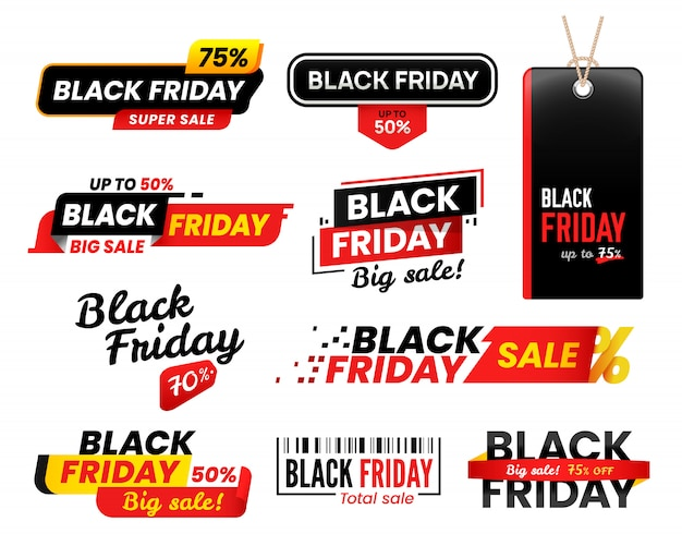 Étiquettes de vendredi noir. autocollant de vente pour les ventes du vendredi de thanksgiving, ensemble de balises de magasinage