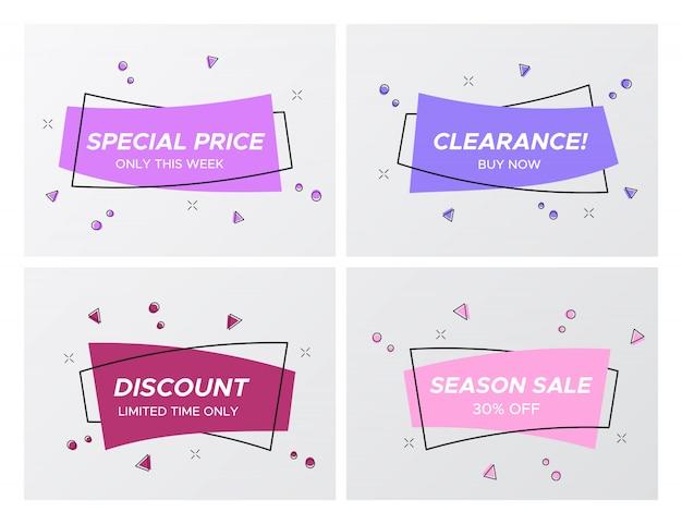 Étiquettes de vente de couleurs violet doux avec explosion de confettis