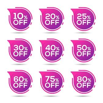 Étiquettes de vente définies promotion de remise de badges vectoriels