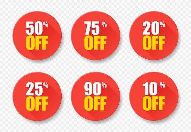 Étiquettes de vente définir le modèle de badges de vecteur, 10 off, 20, 25, 50, 75 90 pour cent de symboles d'étiquette de vente, icône plate de promotion d'escompte avec ombre portée