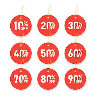 Les étiquettes de vente définissent le modèle de badges vectoriels, 10, 20, 30, 40, 50, 60, 70, 80, 90 pour cent de réduction sur les symboles d'étiquette, l'icône plate de promotion de remise, l'emblème d'autocollant de vente en liquidation, la rosette rouge
