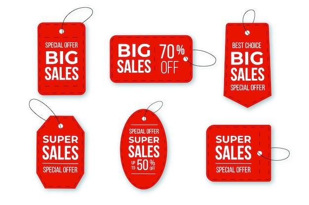 Étiquettes de vente design plat avec offres spéciales