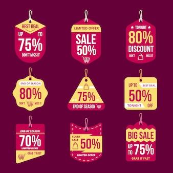 Étiquettes de vente design plat