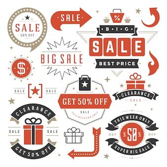 Étiquettes de vente et étiquettes design vectoriel vintage pour bannières