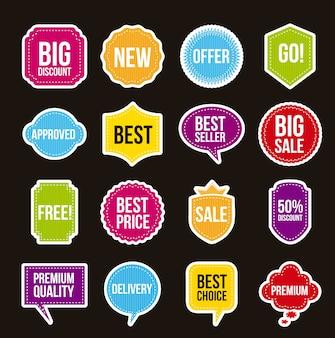 Étiquettes de vente sur illustration vectorielle fond noir