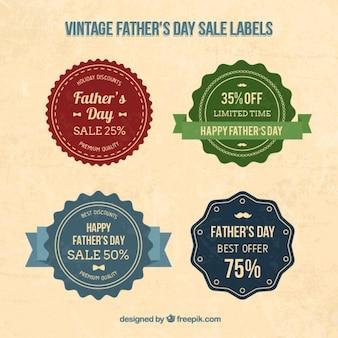 Les étiquettes de vente de jour vintage père