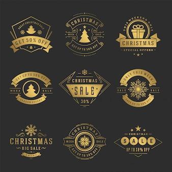 Étiquettes de vente de noël et des insignes avec jeu de style vintage de décoration typographique texte