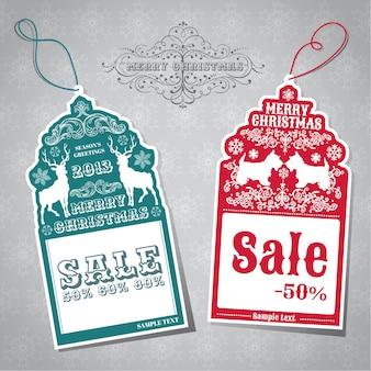 Étiquettes de vente de noël
