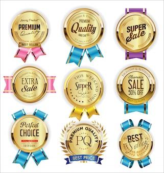 Étiquettes de vente d'or collection design vintage rétro