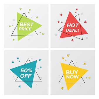 Étiquettes de vente plat triangle dans un style pop art lumineux