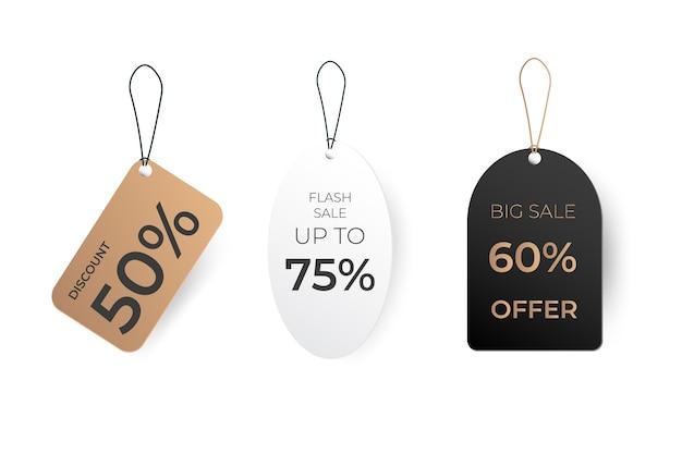 Étiquettes de vente de prix au design plat