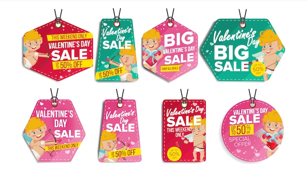 Étiquettes de vente de la saint-valentin