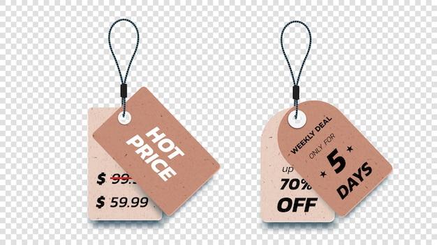 Étiquettes de vente suspendues en carton réaliste. ensemble d'étiquettes de vente de papier isolé.
