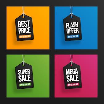 Etiquettes de vente suspendues modernes