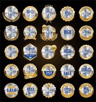 Étiquettes de vente vintage style doré