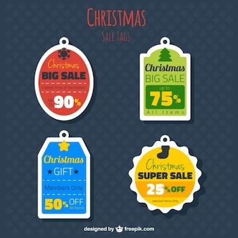 Étiquettes des ventes de noël