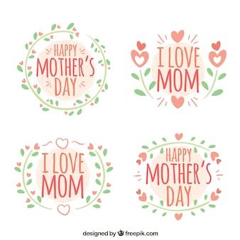 Les étiquettes vertes et roses pour la fête des mères