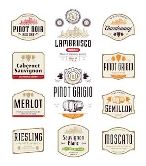 Étiquettes de vin rouge et blanc vintage