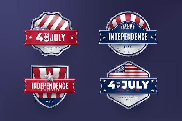 Étiquettes vintage 4 juillet fête de l'indépendance