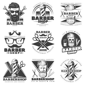 Étiquettes vintage barber hipster
