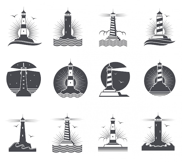 Étiquettes vintage marine, phares et logo nautique rétro de vagues océaniques