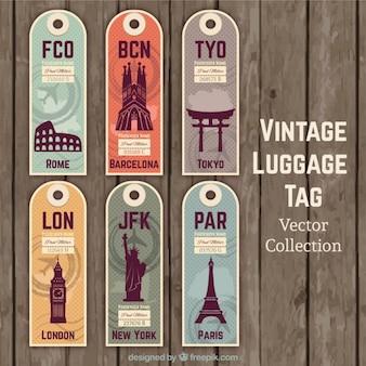 Étiquettes vintages de voyage mignon