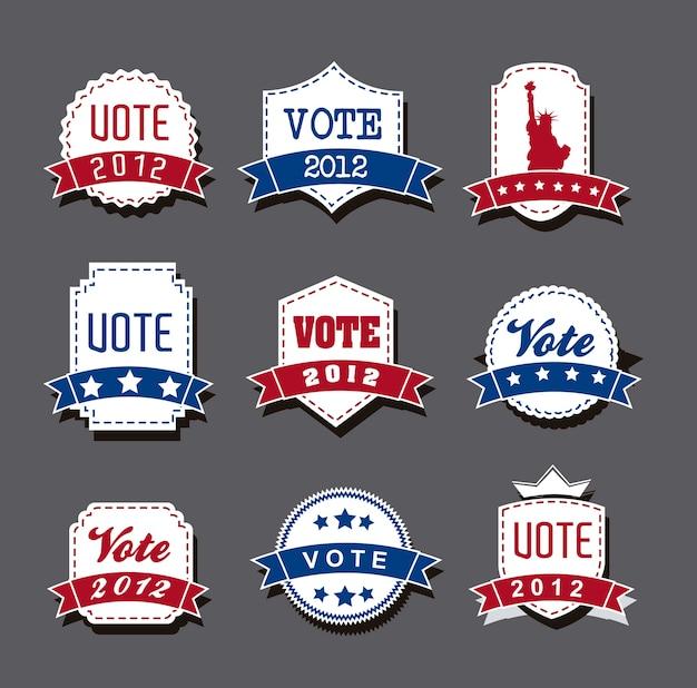 Étiquettes de vote élection des états-unis sur vecteur fond gris