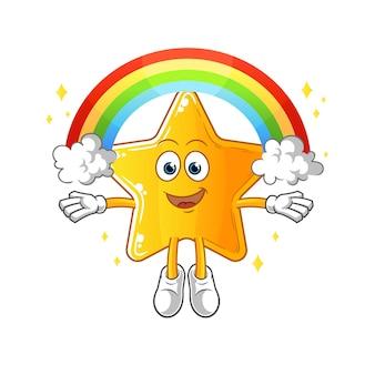 L'étoile avec un arc en ciel. dessin animé