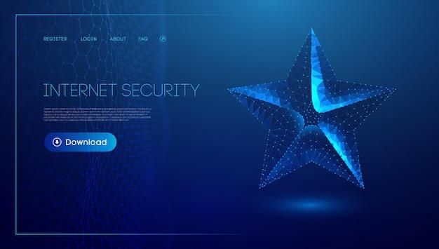 Étoile basse poly sur fond bleu. concept de vacances étoile bleue abstraite de technologie numérique. concept de technologie d'entreprise. eps 10.