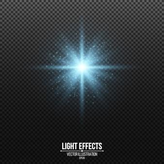Étoile bleue brillante avec des paillettes isolées. poussière rougeoyante. éléments scintillants.