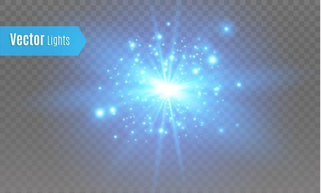 Étoile bleue éclatée d'étincelles