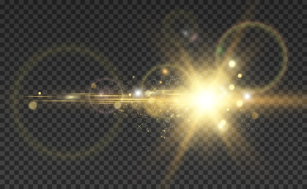 Étoile brillante dorée. effet lumineux étoile brillante. belle lumière pour illustrer.