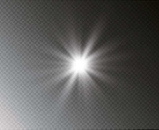 Une étoile brillante explose, le soleil brillant transparent, le flash.