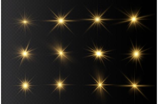 Étoile brillante, lumière rougeoyante jaune, soleil brillant.