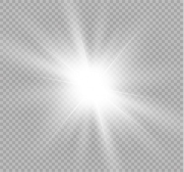 Étoile brillante. soleil brillant transparent, flash lumineux. une lumière blanche éclatante explose. des particules de poussière magiques scintillantes.