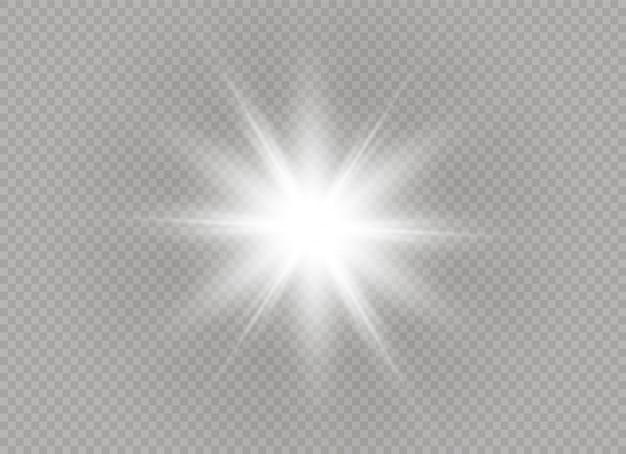 Étoile brillante. soleil brillant transparent, flash lumineux. la lumière blanche éclatante explose