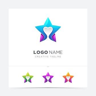 Étoile colorée créative avec logo d'amour