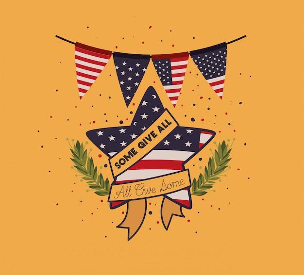 Étoile, couronne, et, usa, drapeau, emblème, jour commémoratif