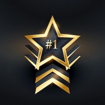 Étoile créative no 1 vecteur de conception de label gagnant