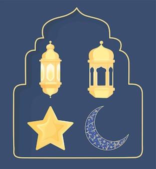Étoile, croissant de lune et lanternes