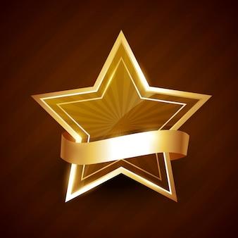 Étoile Dorée Brillante Avec Ruban Vecteur Premium