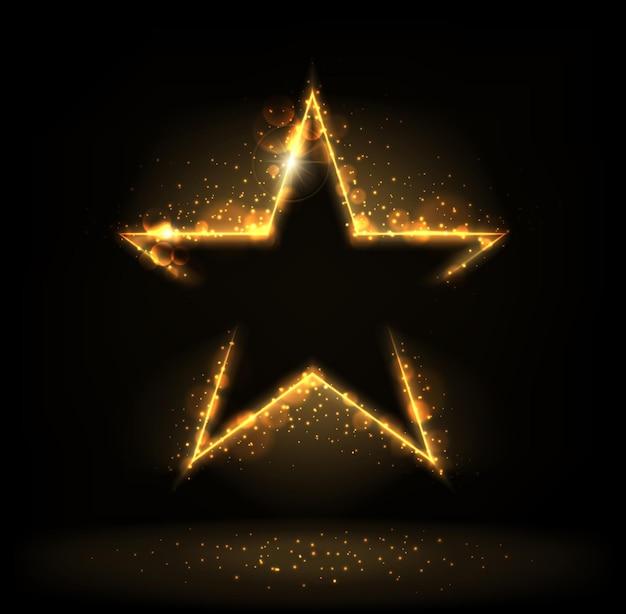 Étoile dorée avec éclat, paillettes, éclat de poussière d'étoile