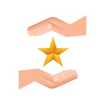 Étoile dorée métallique réaliste sur le motif de la main sur fond blanc. illustration vectorielle de stock.