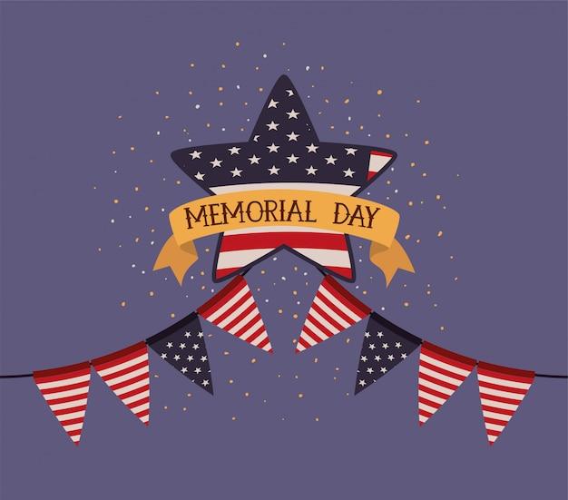 Étoile, drapeau usa, guirlandes, emblème, jour commémoratif