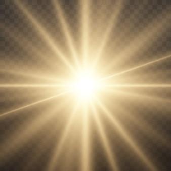 L'étoile éclate de brillance, brillante étoile brillante, une lumière jaune éclatante éclate sur un fond transparent, des rayons de soleil jaunes, un effet de lumière dorée, une lumière du soleil avec des rayons