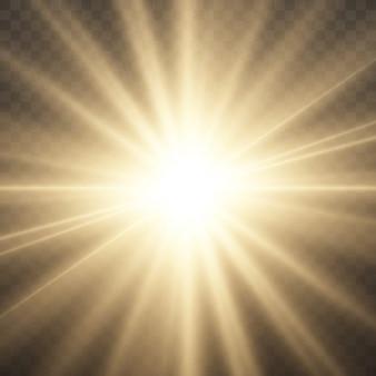 L'étoile a éclaté de brillance, étoile brillante lueur, éclat de lumière rougeoyante jaune, rayons de soleil jaunes, effet de lumière dorée, éclat de soleil avec des rayons, illustration vectorielle, eps 10