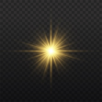 L'étoile a éclaté de brillance, étoile brillante lueur, éclat de lumière rougeoyante jaune, rayons de soleil jaunes, effet de lumière dorée, éclat de soleil avec des rayons, illustration vectorielle,