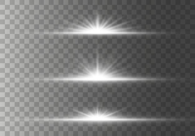 Étoile éclatée avec des étincelles effet de lumière lueur, étoiles, étincelles, fusée éclairante, explosio. ensemble de fusées éclairantes horizontales brillantes, rayons avec collection bokeh sur fond transparent. illustration