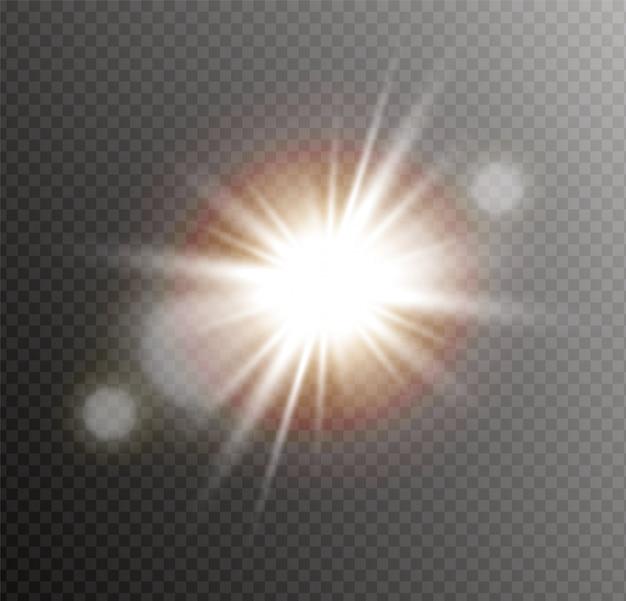 L'étoile explose. le soleil brillant transparent, flash lumineux.