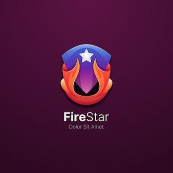 Étoile de feu colorée avec modèle de logo de bouclier